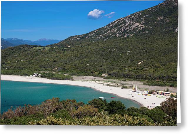 France, Corsica, Portigliolo, Beach View Greeting Card by Walter Bibikow