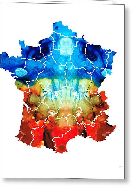 Les Greeting Cards - France - European Map by Sharon Cummings Greeting Card by Sharon Cummings