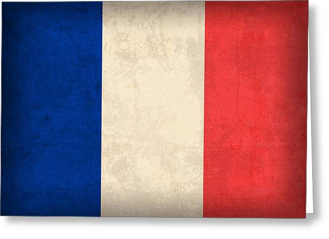 Europe Mixed Media Greeting Cards - France Flag Distressed Vintage Finish Greeting Card by Design Turnpike