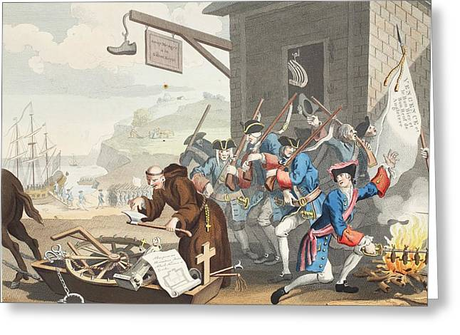 Political Allegory Greeting Cards - France, Illustration From Hogarth Greeting Card by William Hogarth