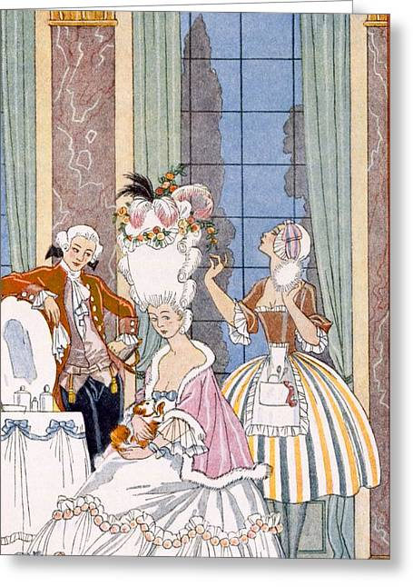Stencil Art Greeting Cards - France in the 18th Century Greeting Card by Georges Barbier