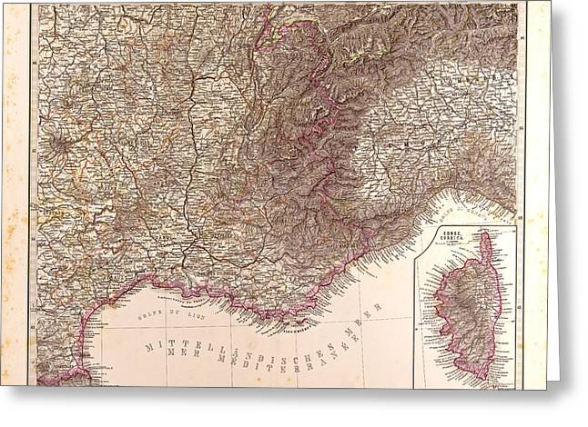 France Map 1874 Gotha Justus Perthes 1872 Atlas Greeting Card by French School