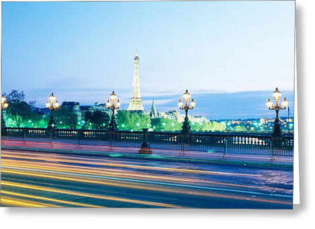 Movement. Blur Greeting Cards - France, Paris, Alexandre Iii Bridge Greeting Card by Panoramic Images
