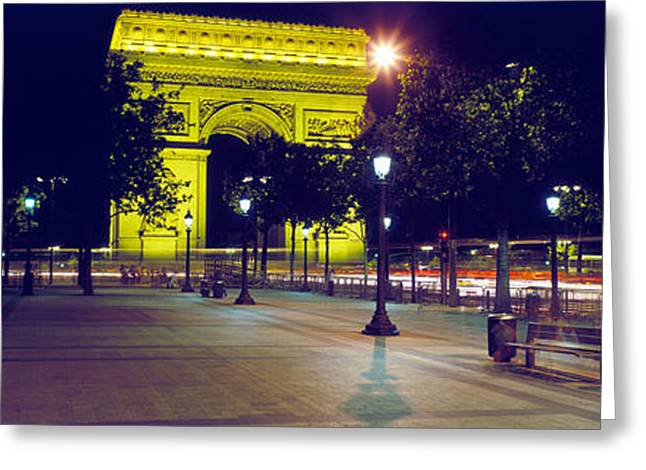 Arc De Triomphe Greeting Cards - France, Paris, Arc De Triomphe, Night Greeting Card by Panoramic Images