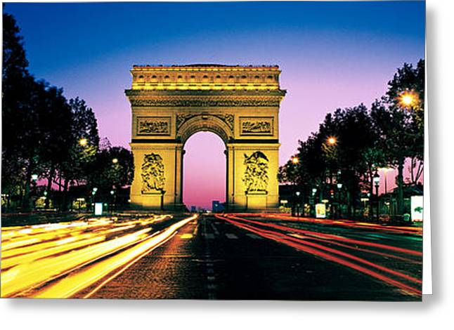 Arc De Triomphe Greeting Cards - France, Paris, Arc De Triomphe Greeting Card by Panoramic Images