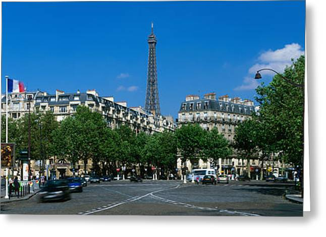 Tree Lines Greeting Cards - France, Paris, Avenue De Tourville Greeting Card by Panoramic Images