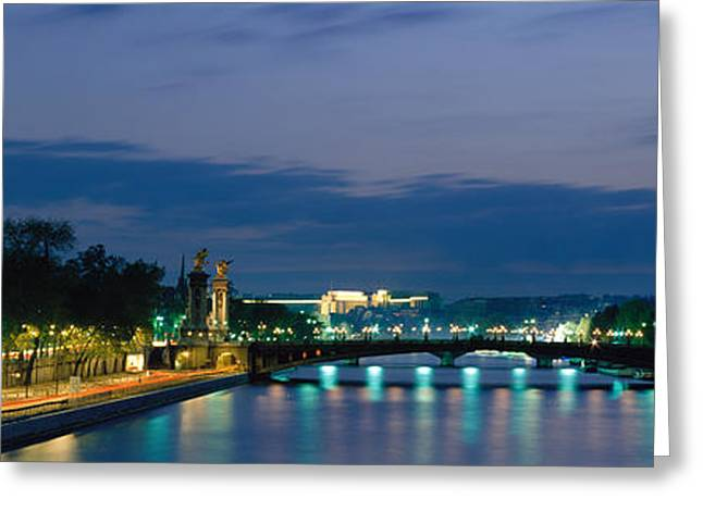 Scenic River Photography Greeting Cards - France, Paris, Eiffel Tower , Seine Greeting Card by Panoramic Images