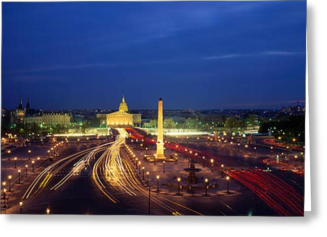 Headlight Greeting Cards - France, Paris, Place De La Concorde Greeting Card by Panoramic Images