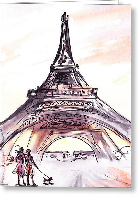 Dog Walking Greeting Cards - France Sketches Walking To The Eiffel Tower Greeting Card by Irina Sztukowski