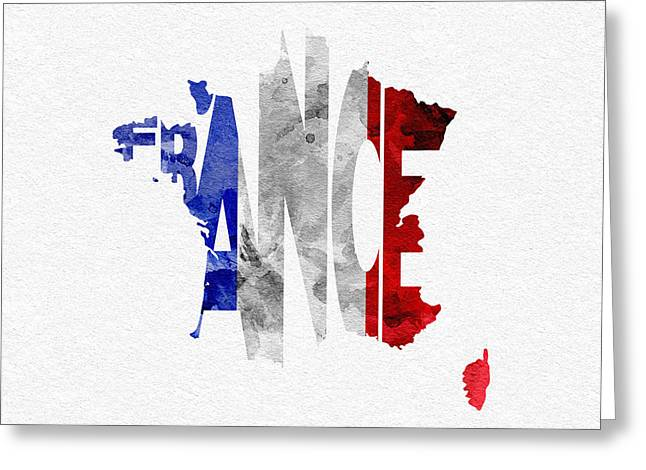 France Map Greeting Cards - France Typographic Map Flag Greeting Card by Ayse Deniz