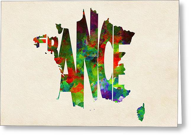 France Map Greeting Cards - France Typographic Watercolor Map Greeting Card by Ayse Deniz