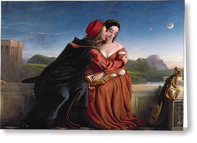 Crescent Greeting Cards - Francesca Da Rimini, Exh. 1837 Oil On Canvas Greeting Card by William Dyce