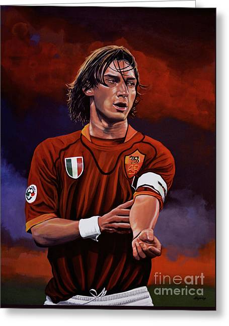 Famous Athletes Greeting Cards - Francesco Totti Greeting Card by Paul Meijering