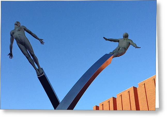 Francis Crick Greeting Cards - Francis Cricks DNA Discovey Monument in Northampton England Greeting Card by Gordon James