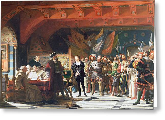 Reconstruction Greeting Cards - Francis De Bonnivard 1496-1570 The Prisoner Of Chillon, Brought Before The Duke Of Savoy In 1530 Greeting Card by Jules Hippolyte Ravel