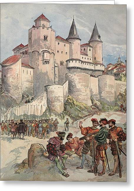 French Renaissance Greeting Cards - Francis I Held Prisoner In A Tower Greeting Card by Albert Robida
