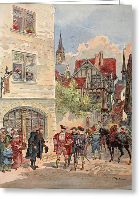 Signed Drawings Greeting Cards - Francis I Received By Estienne Greeting Card by Albert Robida