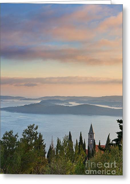 Sea View Greeting Cards - Orebic Monastery Greeting Card by Rod McLean