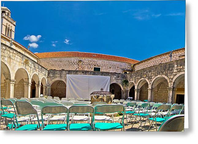 Franciscian Greeting Cards - Franciscian monastery in Hvar panorama Greeting Card by Dalibor Brlek