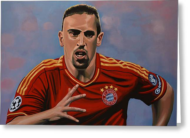 National Football League Paintings Greeting Cards - Franck Ribery Greeting Card by Paul Meijering
