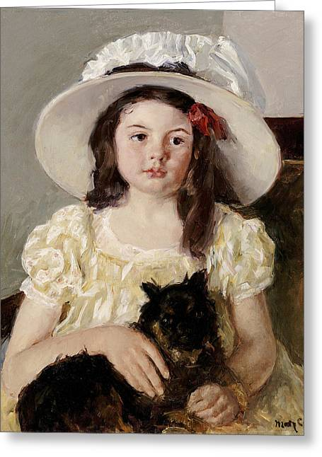 African-american Paintings Greeting Cards - Francoise Holding A Little Black Dog Greeting Card by Mary Cassatt
