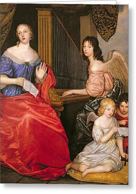 Playing Angels Greeting Cards - Francoise Louise 1644-1710 Duchess Of La Valliere With Her Children As Angels Oil On Canvas Greeting Card by Sir Peter Lely