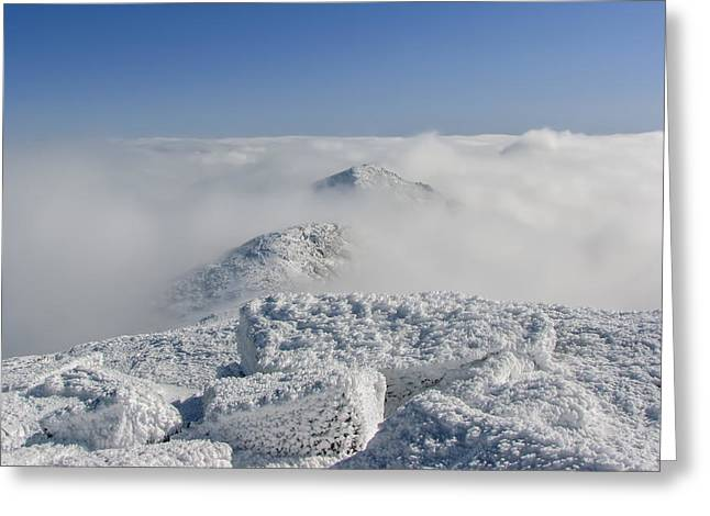 New England Snow Scene Greeting Cards - Franconia Ridge Above the Clouds Greeting Card by Christopher Whiton