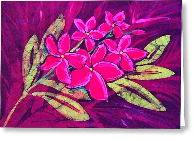 Blooms Tapestries - Textiles Greeting Cards - Frangipani Greeting Card by Kay Shaffer