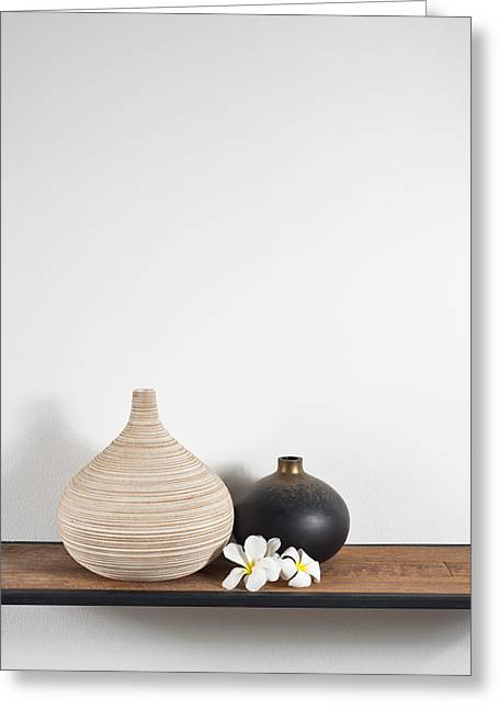 Wood Carving Greeting Cards - Frangipani Greeting Card by Ulrich Schade