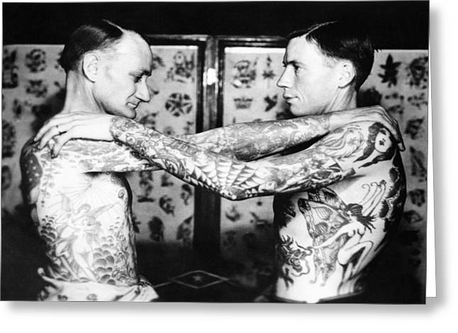 Best Sellers -  - Tattoo Flash Greeting Cards - Vintage Tattoo Photograph and Flash Art Greeting Card by Larry Mora