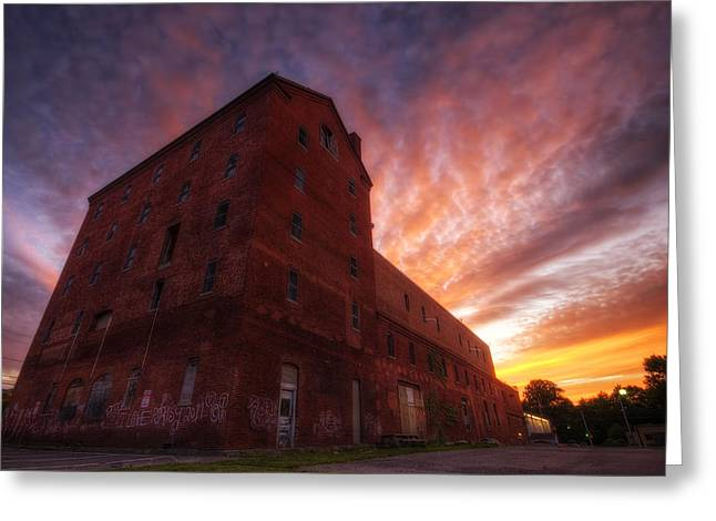 Breweries Greeting Cards - Frank Jones Brewery Sunset Greeting Card by Eric Gendron