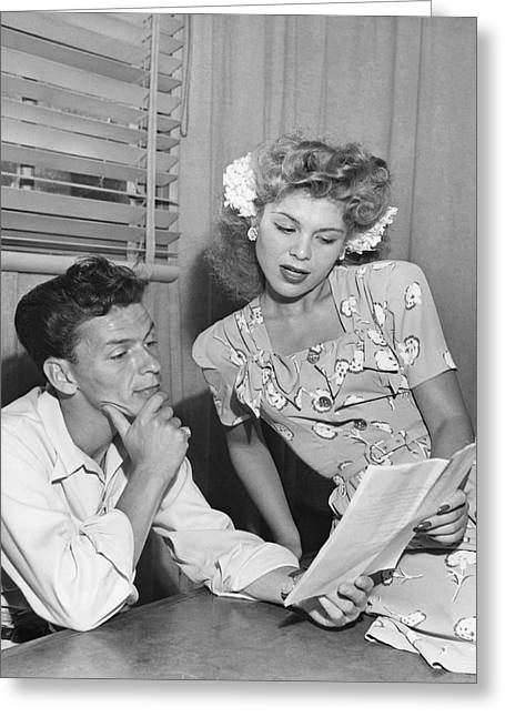 Frank Sinatra & Eileen Barton Greeting Card by Underwood Archives