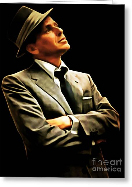 Famous Artist Greeting Cards - Frank Sinatra 20150125brun Greeting Card by Wingsdomain Art and Photography
