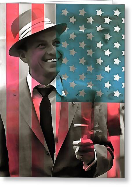 Come With Me Greeting Cards - Frank Sinatra American Legend Greeting Card by Dan Sproul
