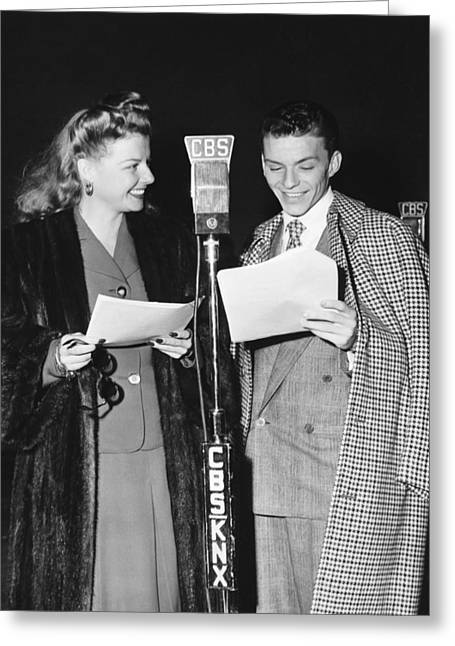 Toothy Smile Greeting Cards - Frank Sinatra And Ann Sheridan Greeting Card by Underwood Archives