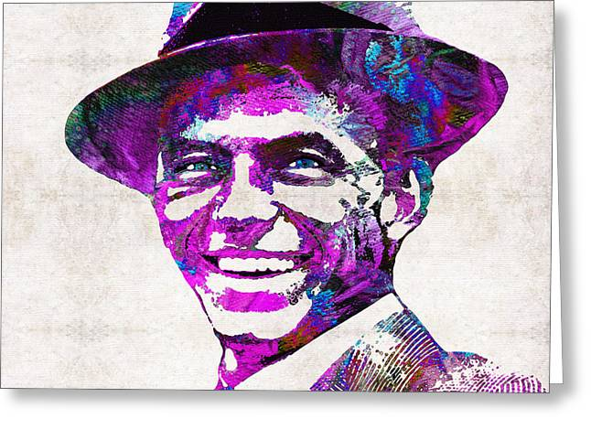 Rat Pack Greeting Cards - Frank Sinatra Art - Pink Sinatra - By Sharon Cummings Greeting Card by Sharon Cummings