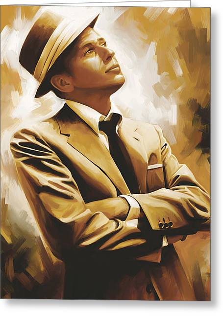 Celebrity Mixed Media Greeting Cards - Frank Sinatra Artwork 1 Greeting Card by Sheraz A