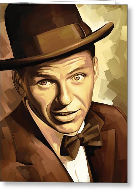 Celebrity Prints Greeting Cards - Frank Sinatra Artwork 2 Greeting Card by Sheraz A