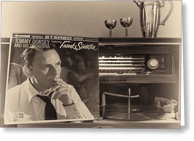 Frank Sinatra Croons To You Greeting Card by Nancy Strahinic