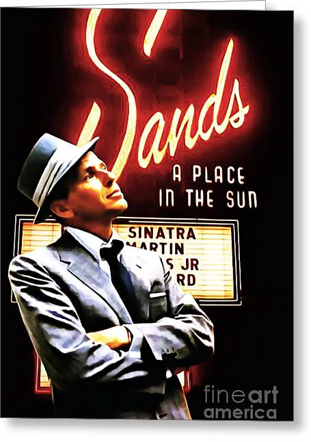 Frank Sinatra Greeting Cards - Frank Sinatra I Did It My Way 20150126brun v2 Greeting Card by Wingsdomain Art and Photography