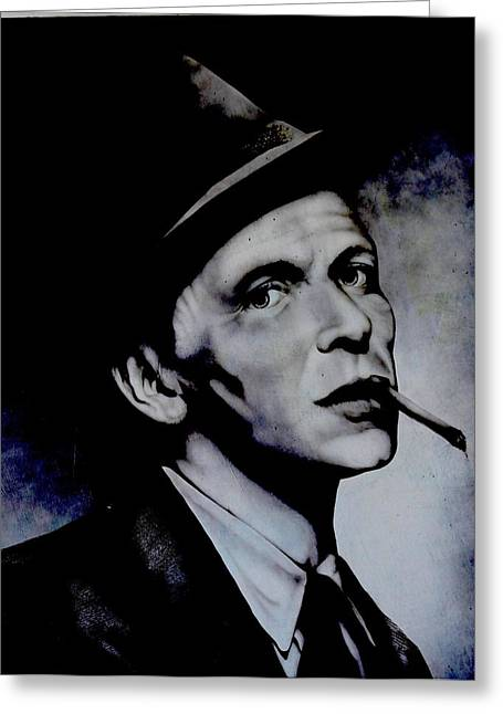 Ole Blue Eyes Greeting Cards - Frank Sinatra Mural Greeting Card by Steven Parker