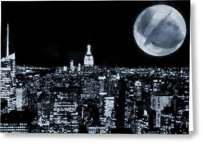 Man In The Moon Greeting Cards - Frank Sinatra New York City Moon Greeting Card by Dan Sproul