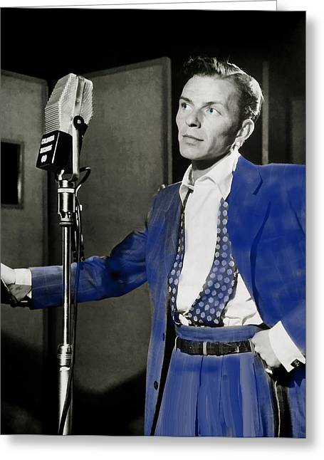 Throb Greeting Cards - Frank Sinatra - Old Blue Eyes Greeting Card by EricaMaxine  Price