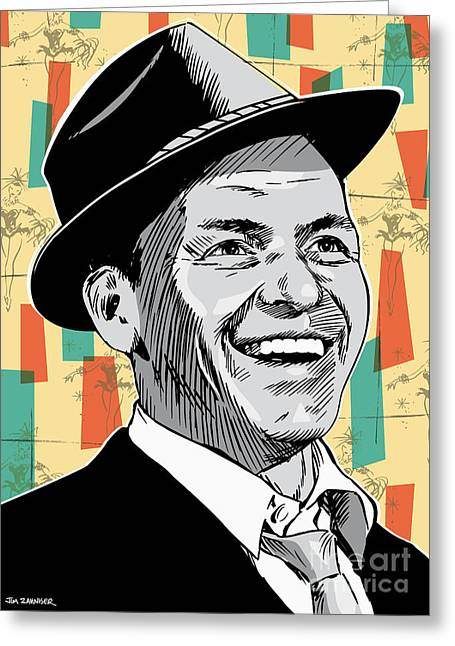 Rat Pack Greeting Cards - Frank Sinatra Pop Art Greeting Card by Jim Zahniser