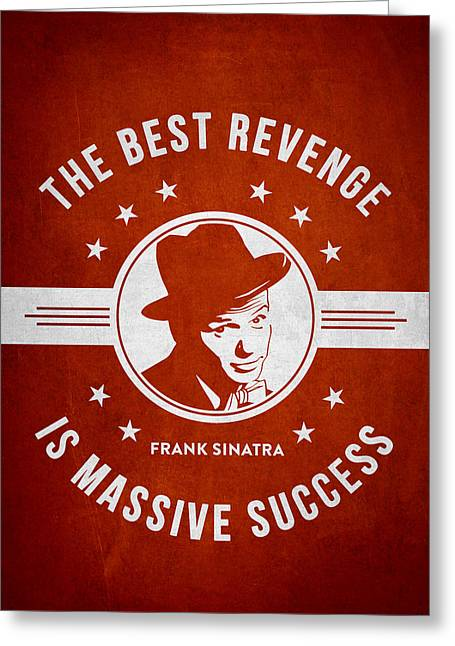 Frank Sinatra Greeting Cards - Frank Sinatra - Red Greeting Card by Aged Pixel