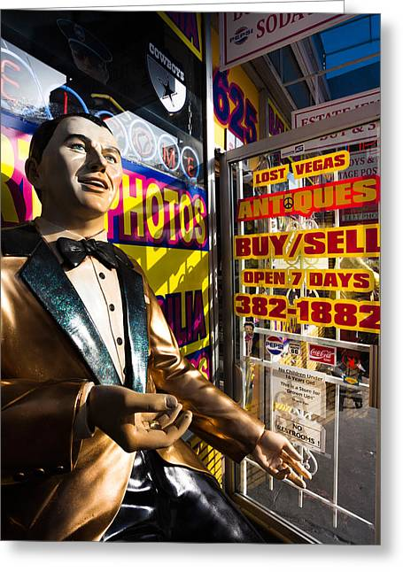 Las Vegas Greeting Cards - Frank Sinatra Statue, Las Vegas Greeting Card by Panoramic Images