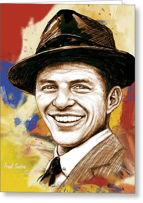 Featured Mixed Media Greeting Cards - Frank Sinatra - stylised pop art drawing portrait poster  Greeting Card by Kim Wang