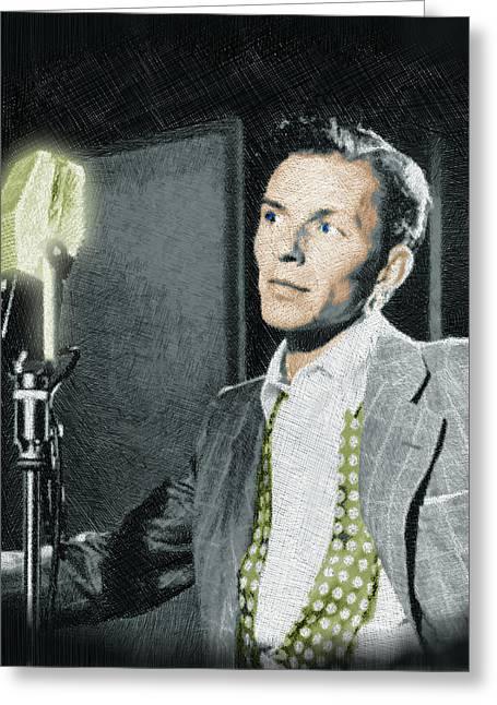 Croon Greeting Cards - Frank Sinatra Greeting Card by Tony Rubino