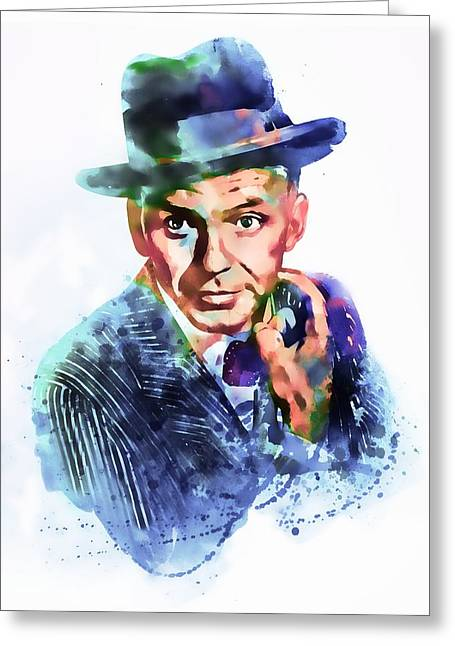 Fine Mixed Media Greeting Cards - Frank Sinatra watercolor Greeting Card by Marian Voicu