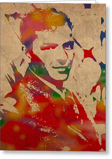 Franks Greeting Cards - Frank Sinatra Watercolor Portrait on Worn Distressed Canvas Greeting Card by Design Turnpike